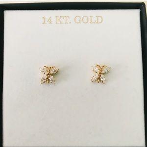 Jewelry - 14k gold cubic zirconia butterfly earrings